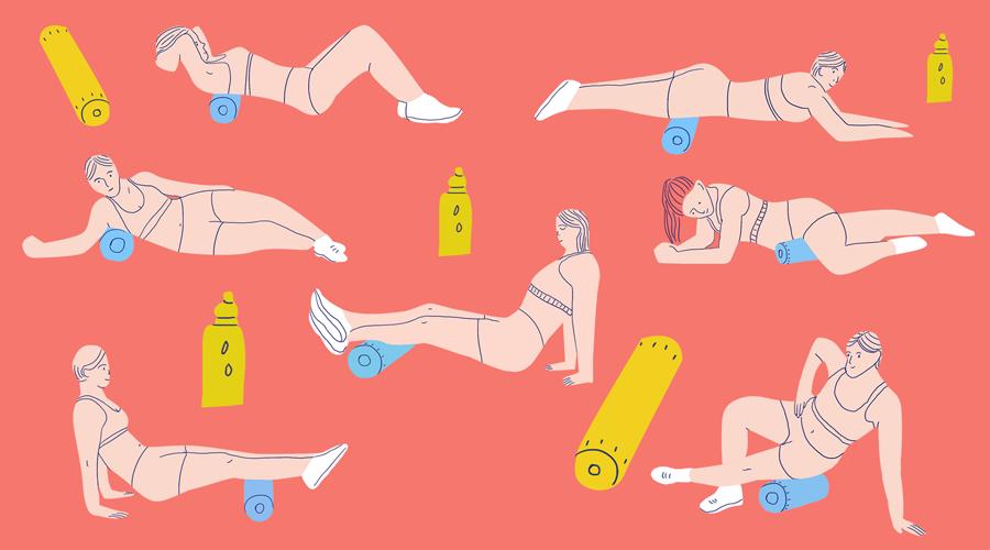 Упражнения с массажным роллом